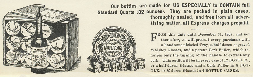 1902 Xmas Holiday Advertisement for Fulton Whiskey, from Myers & Co. of Covington, KY.