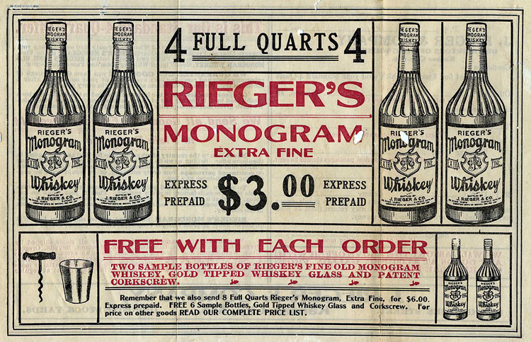 A flyer advertising Rieger's Monogram Extra Fine Whiskey, from Jacob Rieger & Co. of Kansas City, MO.  The date is unknown.