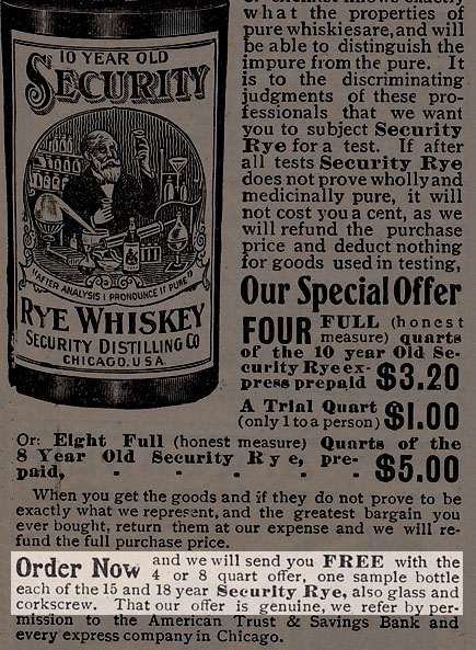 Advertisement for 10-Year Old Securty Rye Whiskey, from Security Distilling Co. of Chicago, IL.