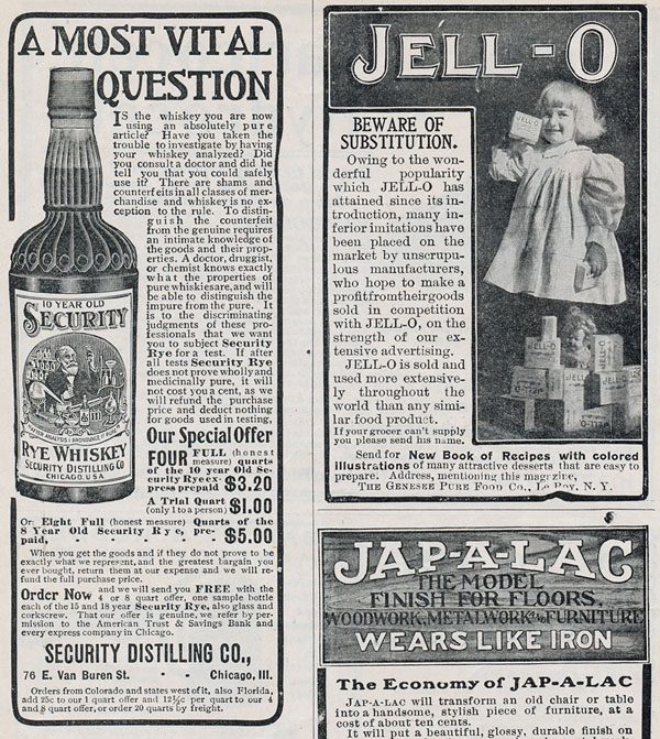 Advertisement for Security Rye Whiskey that appeared in The National Magazine, 1904. The whiskey ad appears alongside one for Jell-O.
