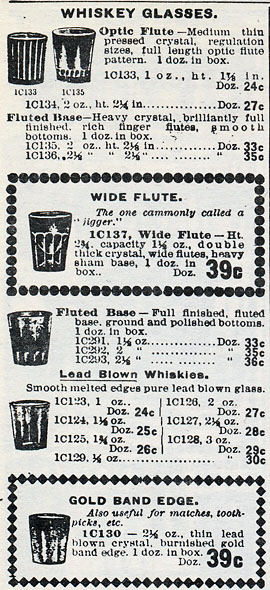 A panel from a 1910 Butler Bros glass catalog showing pricing information for several styles of blown whiskey glasses.