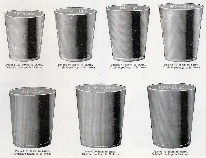1903 Cambridge Glass Co. catalog page showing several shot-glass blanks