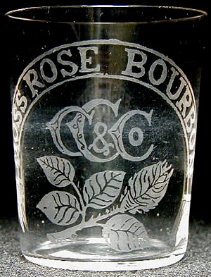 Very early acid-etched Moss Rose Bourbon shot glass