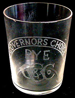 A very early acid-etched Governor's Choice Rye shot glass
