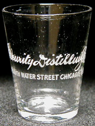 Security Distilling Co. shot glass